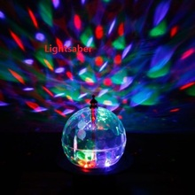 Mini Rotating LED RGB Stage Light Moving Head Crystal Magic Ball Effect Light Disco DJ Party Stage Lighting Free Shipping