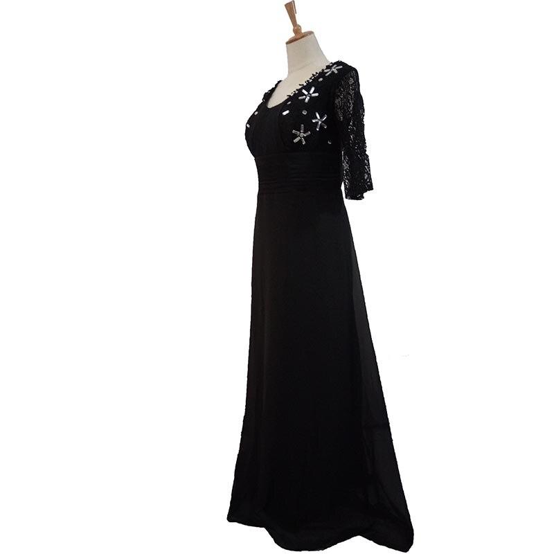 2017 nouvelle mère robe noir profond col en V clou perceuse manches soirée robe longue section - 2