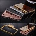 Nuevo caso de aluminio del espejo de lujo para sony xperia z z1 z2 z4 z5 z3 z5 mini compacto premium m4 m5 c3 c4 c5 c6 contraportada & gift
