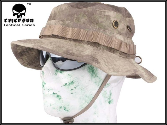 c31b3460b93 EMERSON Bonnie Hat camouflage hat Military Tactical Army Hunting Hat Anti  scrape Grid Fabric AT