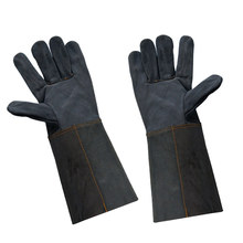 New Long Work Gloves Two-Layer Leather Long Welding Glove Barbecue Carrying Factory Gardening Protective Work Gloves One Size olson deepak half pigskin and half canvas transport factory driving gardening barbecue protective work gloves hy031free shipping