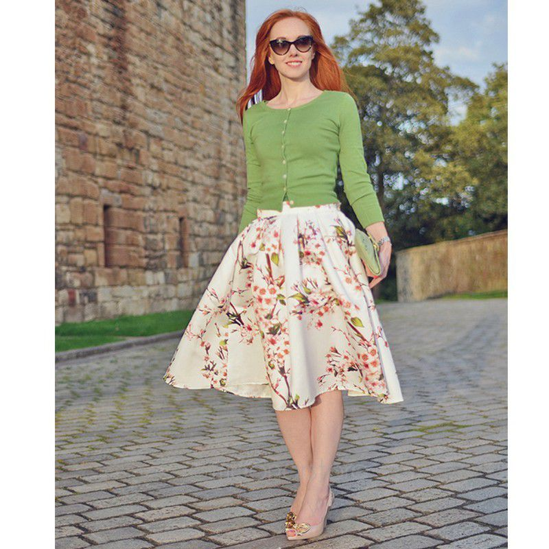 New High waist Floral Knee Length Long Skirt With Pleat Casual ...