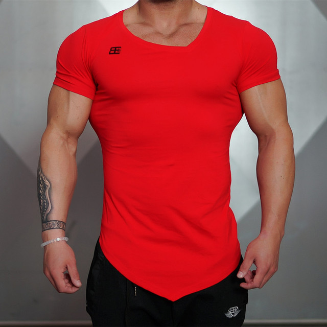 2016 New Fashion Tops 100% Compression T Shirts Men Gasp Muscle Shirts Fitness Bodybuilding Short Sleeve t-shirt men
