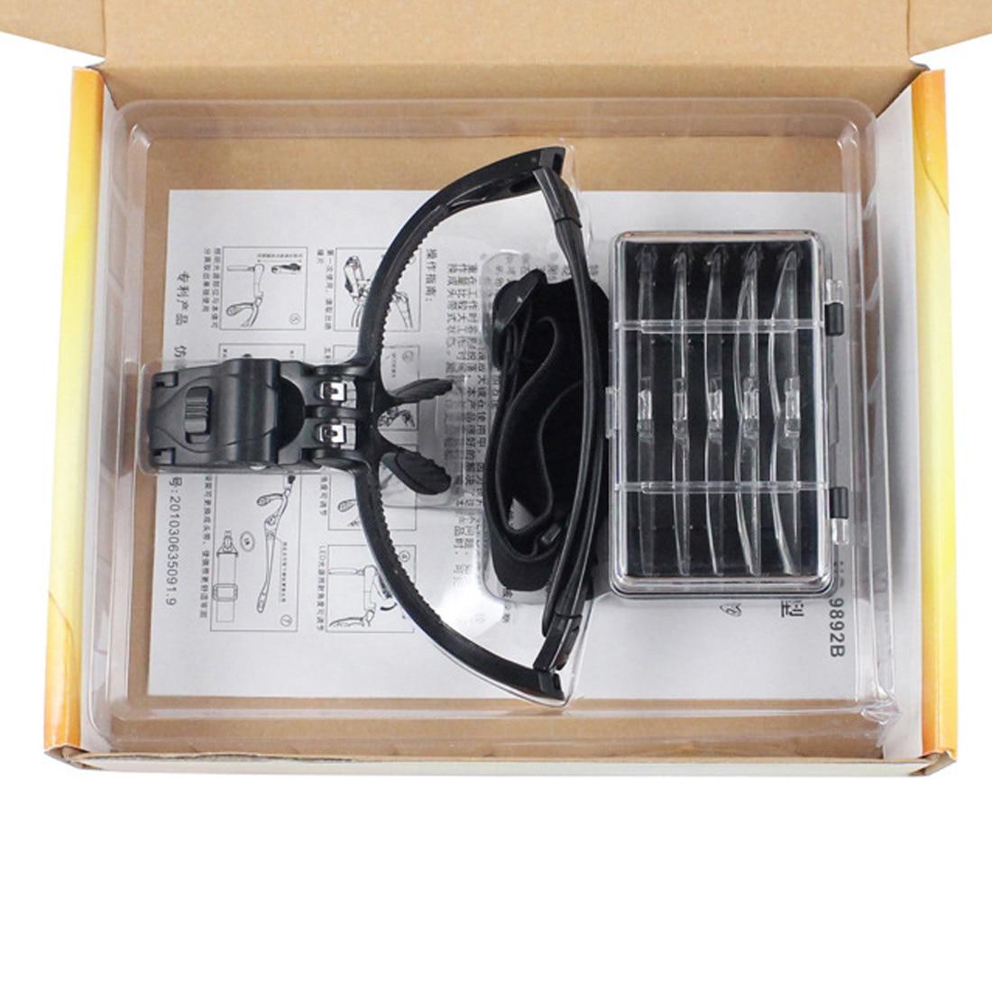 2 lupa de reparación de ojo de lupa de luz LED con lámpara 1,0/1,5/3,5 Unid/2,5/2,0X5 PC