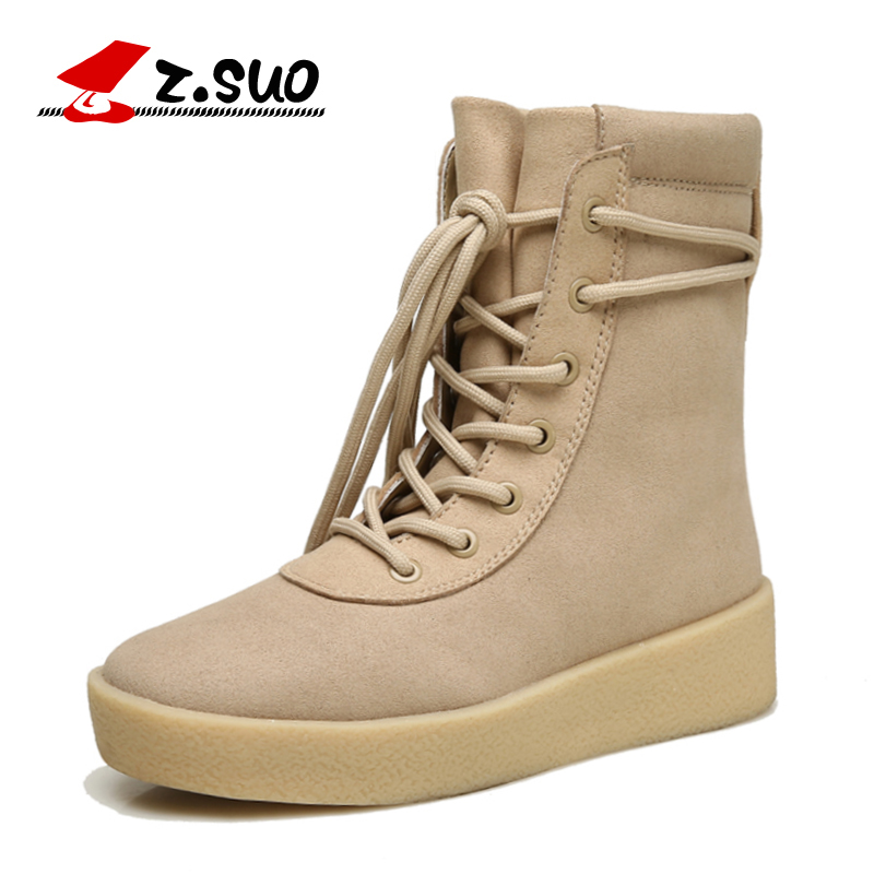 Z.SUO Women Boots 2018 NEW Spring Boots Women Mid-Calf Warm Snow Boots Lace-up Women's Winter Shoes Beige Black Big Size:35-40 eiswelt women mid calf boots winter snow boots warm round toe flat shoes female fashion lace up boots plus size zqs182 page 8