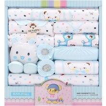 18 Pieces Newborn Baby Set Girls Clothes Four seasons 100% Cotton Infant Suit Boys Clothes Outfits Pants Baby Clothing Hat Bibs