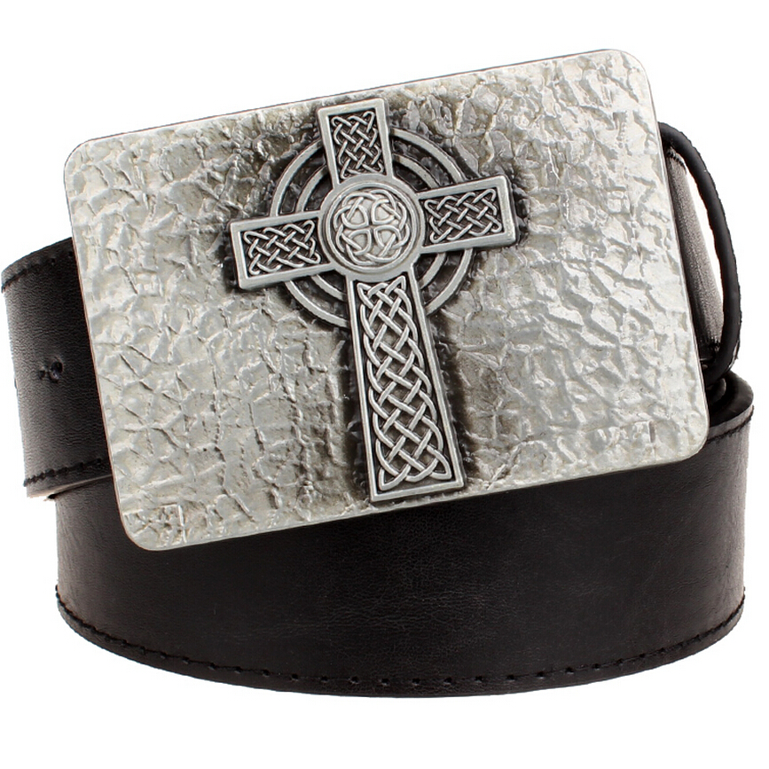 New leather   belt   metal buckle square Celtic knot pattern cross weave   belts   trend punk rock decorative   belt   men gift women