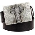 Novo cinto de couro fivela de metal quadrado Celtic knot pattern cruz cintos tecer tendência punk rock decorativo cinto homens dom mulheres