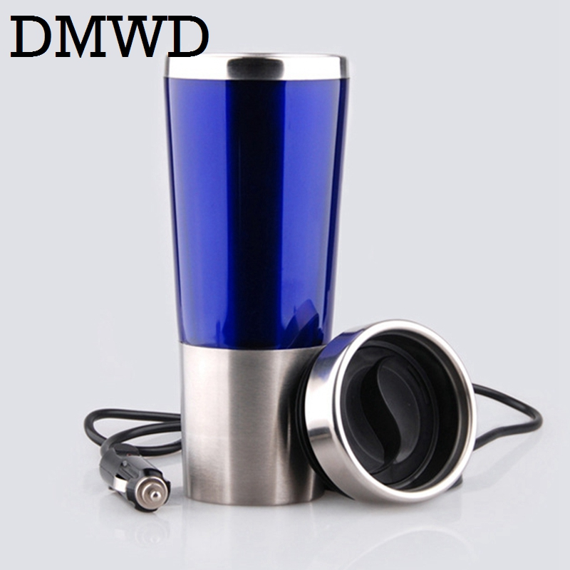 DMWD car hot Water Heater cup Travel heating mini thermal electric kettle teapot Stainless steel bottle Coffee Tea Mug 12V 24V