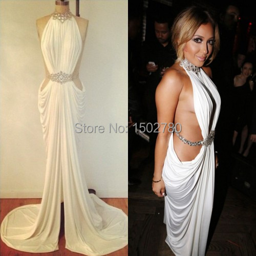 Adrienne Bailon 30th Birthday Party Dress White Halter Draped Chiffon Sexy  Celebrity Dresses Real Samples-in Celebrity-Inspired Dresses from Weddings  ...