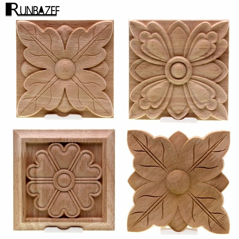 RUNBAZEF The Unpainted Wood Color Decal Applique Furniture Square Box Shavings Home Decoration Accessories Craft Miniature