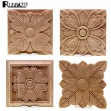 RUNBAZEF The Unpainted Wood Color Decal Applique Furniture Square Box