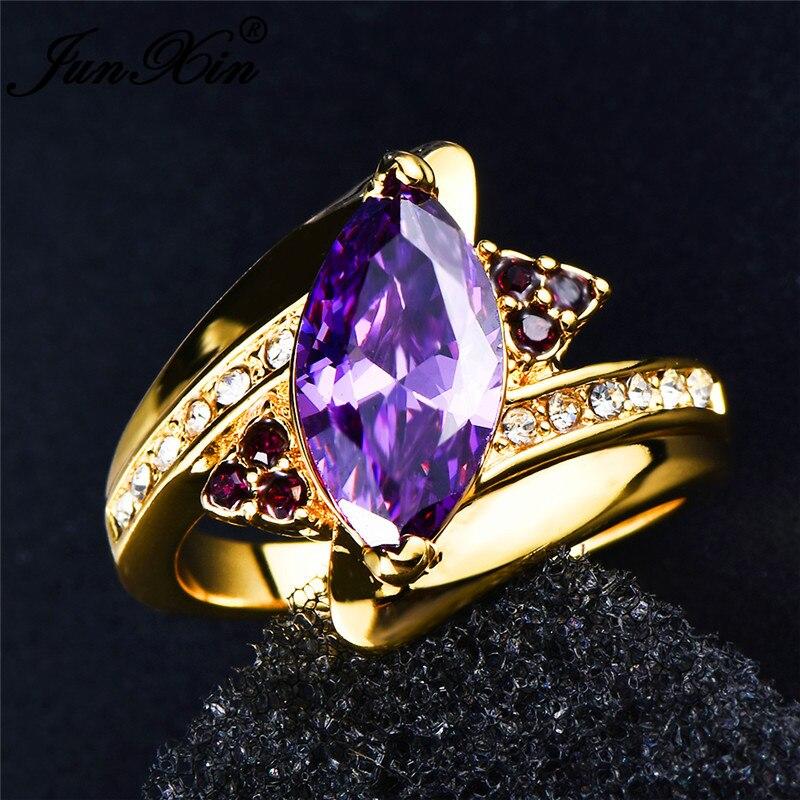 2018 Junxin Charm Purple Horse Eye Stone Women S Ring With Zircon