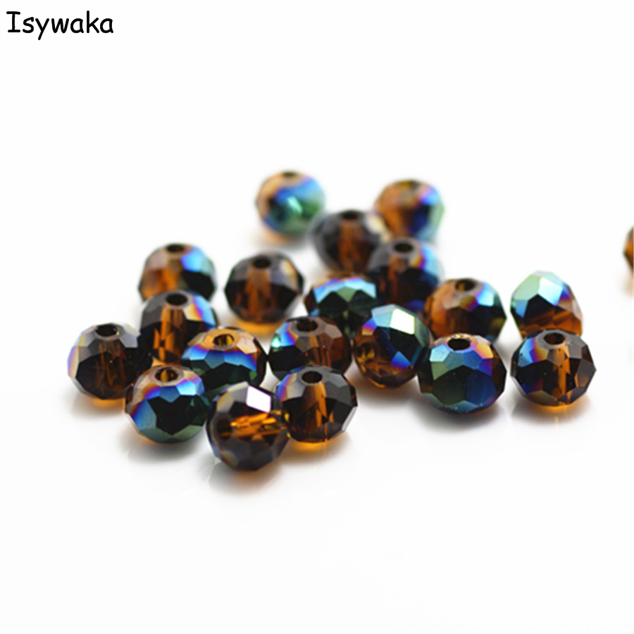 Isywaka Brown Colorful Colors 4*6mm 50pcs Rondelle Austria faceted Crystal Glass Beads Loose Round Beads for Jewelry Making