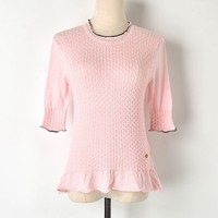 Ladies Knit Pink T Shirt Women 2019 Summer New O Neck Twist Knit T Shirt Ruffles half Sleeve Shirt Women Tops Womens T shirts