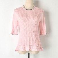 Ladies Knit Pink T Shirt Women 2019 Summer New O Neck Twist Knit T Shirt Ruffles half Sleeve Shirt Women Tops Womens T shirts