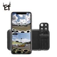 ET 6 en 1 funda de lentes de teléfono gran angular lente de cámara de teléfono Fisheye telefoto Macro lente de cámara para iPhone XR XS max X 7p 8p