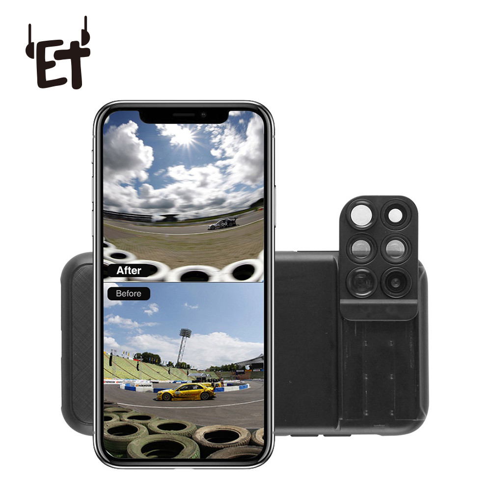 ET 6 in 1 Phone Lens Cover Case Wide Angle Phone Camera Lens Fisheye Telephoto Macro Camera Lens for iPhone XR XS XS max X 7p 8p