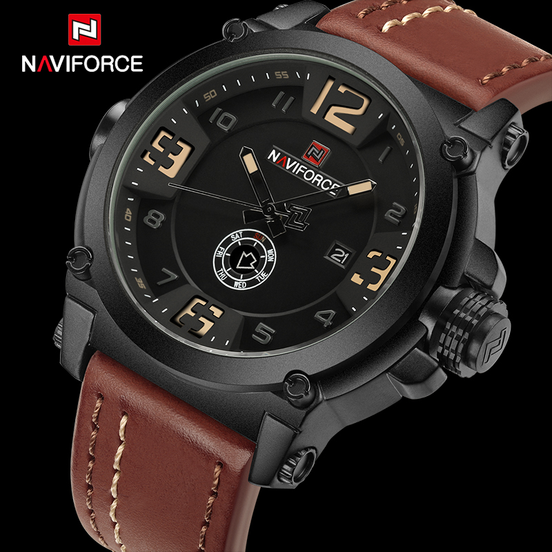 Top Luxury Brand NAVIFORCE Mens Sport Watches Quartz-Watch Leather Strap Clock Men Waterproof Wristwatch relogio masculino 9099 hongc watch men quartz mens watches top brand luxury casual sports wristwatch leather strap male clock men relogio masculino