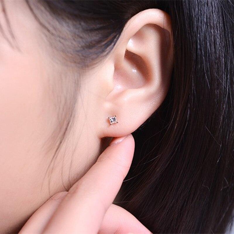 ZOCAI 100% diamant naturel 0.16 ct princesse taille véritable diamant boucles d'oreilles or 18 K E80009T - 5