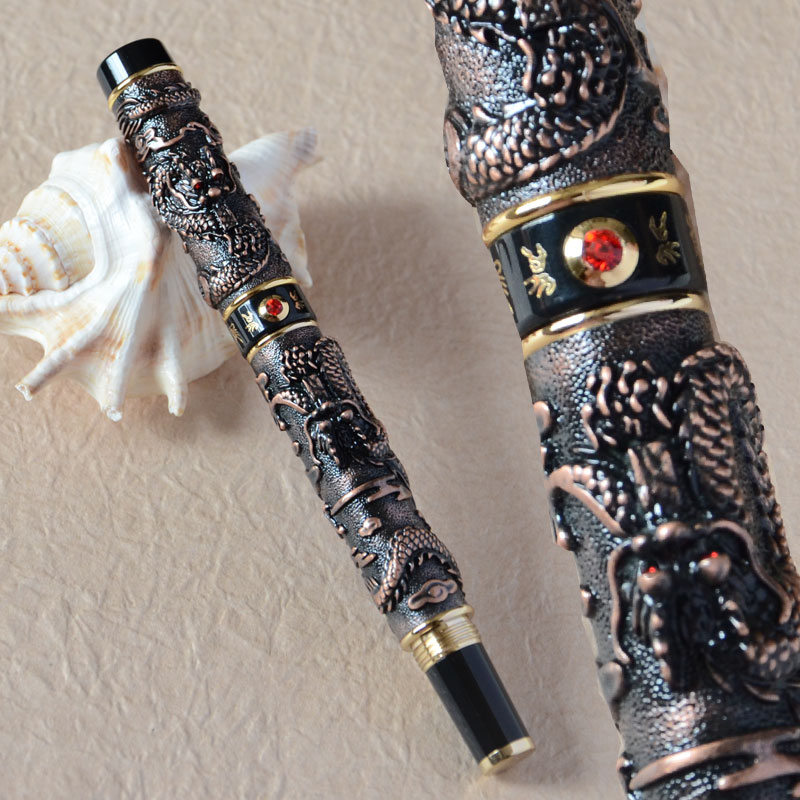 JINHAO COPPER TWO DRAGON PLAY PEARL ROLLER BALL PEN RED CRYSTAL jinhao ancient dragon playing pearl roller ball pen with jewelry on top with original box free shipping
