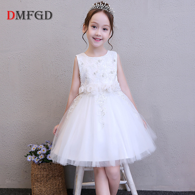 New Summer kids dresses for girls white lace girls dress elegant high quality flower wedding princess dress baby girl clothes white flower girls lace tutu dresses 2016 girl summer communion prom evening dress children princess dress 3 12y kids clothes