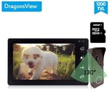 Dragonsview видеодомофон система дверного телефона 7 дюймов монитор дверной звонок с камерой Обнаружение движения широкий угол 130 градусов Запись