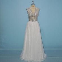 Elegant Real Photo Long Prom Dresses 2017 A-Line Ivory Chiffon Crystal Beaded Prom Gown Party Dress Vestido De Festa