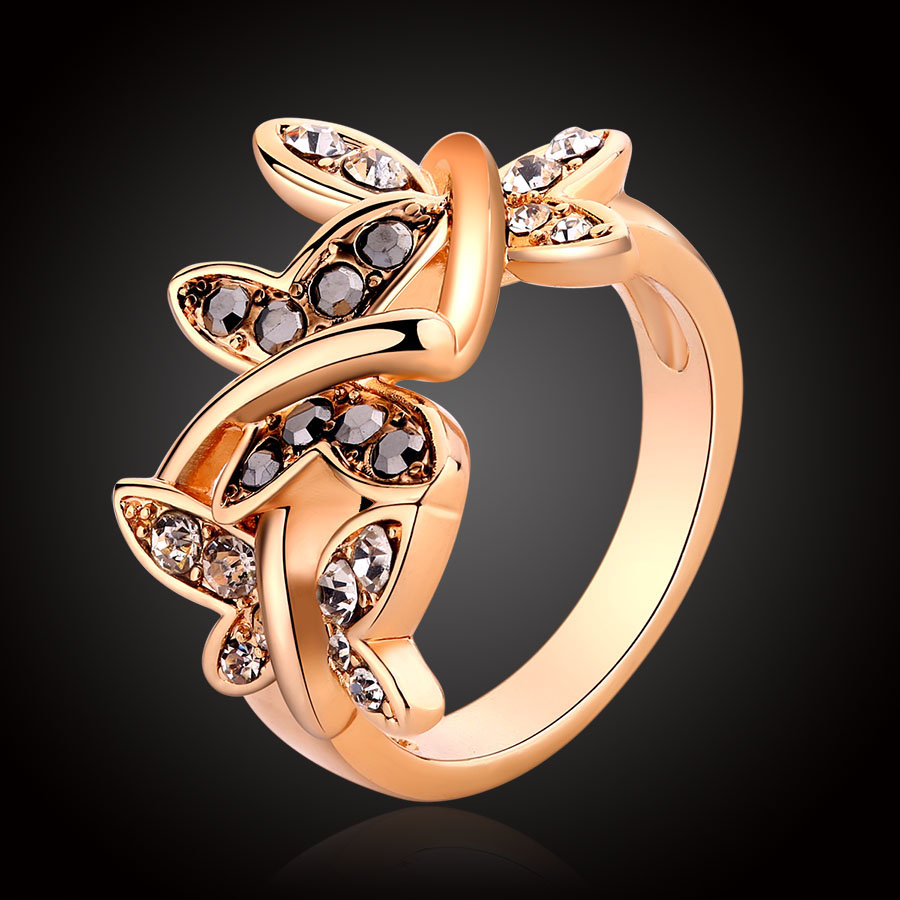 Bague Cz Diamond Butterfly Shape Rose Gold Plated Wedding Ring For Women  Fashion Haematite Rhinestone Engagement Crystal Rings