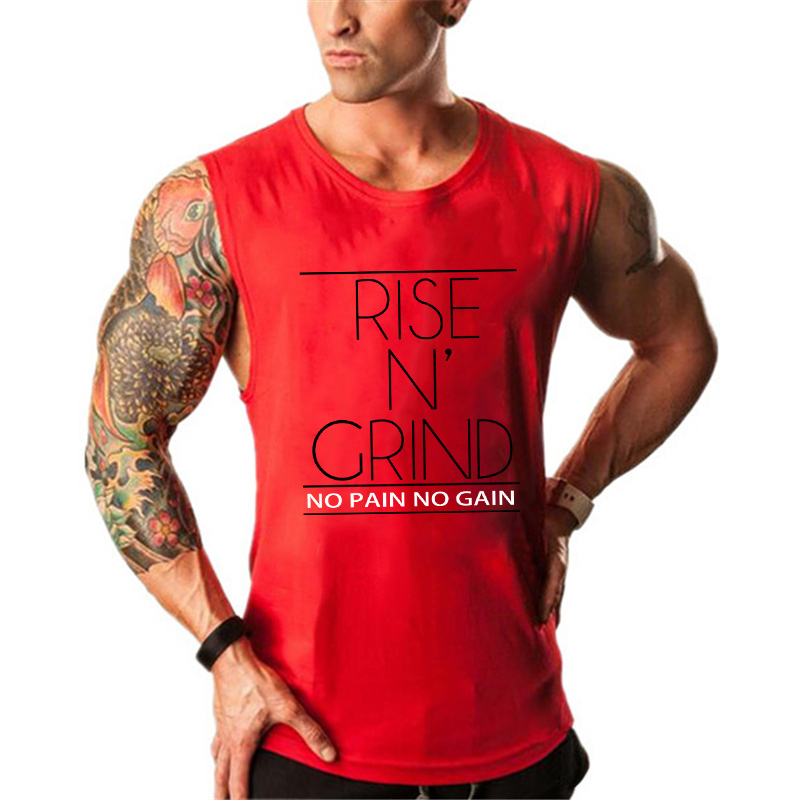 Brand Men's Muslce Vest   Tank     Tops   Bodybuilding Fitness Men Cotton Singlets Plus size O-Neck   Tank   Man Sporting Sleeveless Shirt