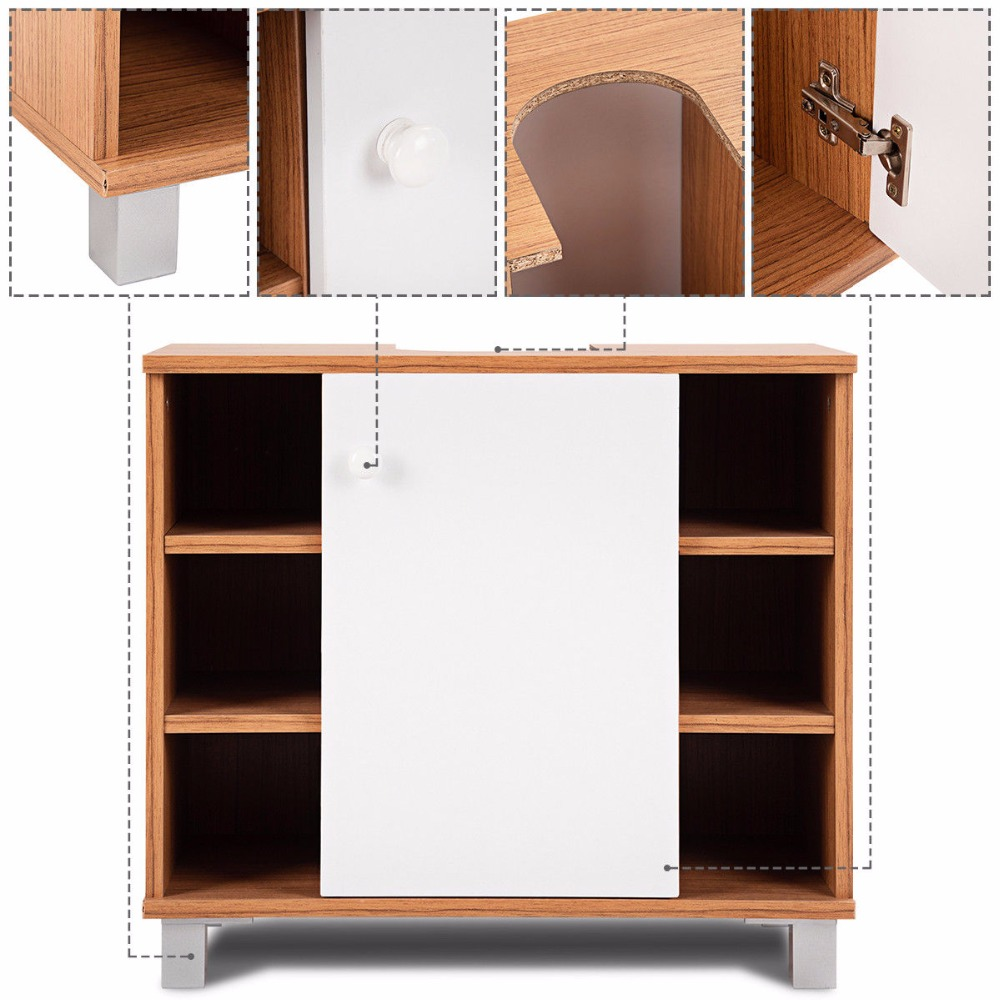 Giantex Under Sink Cabinet Bathroom Spacesaver Storage Cabinet 6 Cube Vanity Organizer Modern Bathroom Furniture BA7403 11