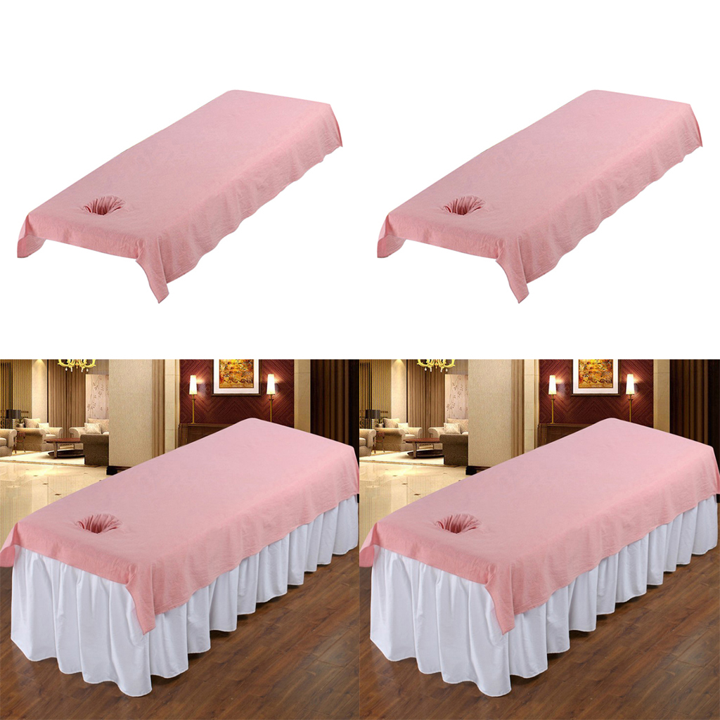 2x Soft Cotton Massage Table Sheets Top Flat Bed Sheet Couch Cover with Hole
