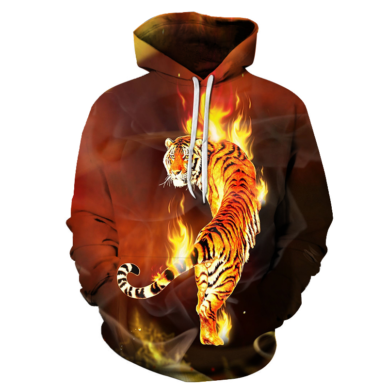 Autumn and winter thin print animal men's hoodies 3D flame tiger trend fashion youth men and women casual hooded sportswear