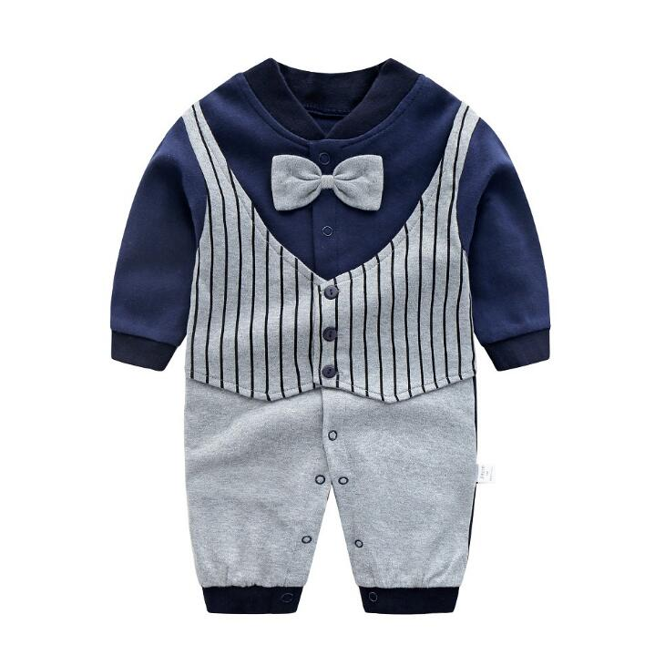 2019 New Gentleman Style Baby   Romper   Baby Boy girls Clothes Children Long Sleeved Clothing Newborn Boys   Romper   Cotton Clothes