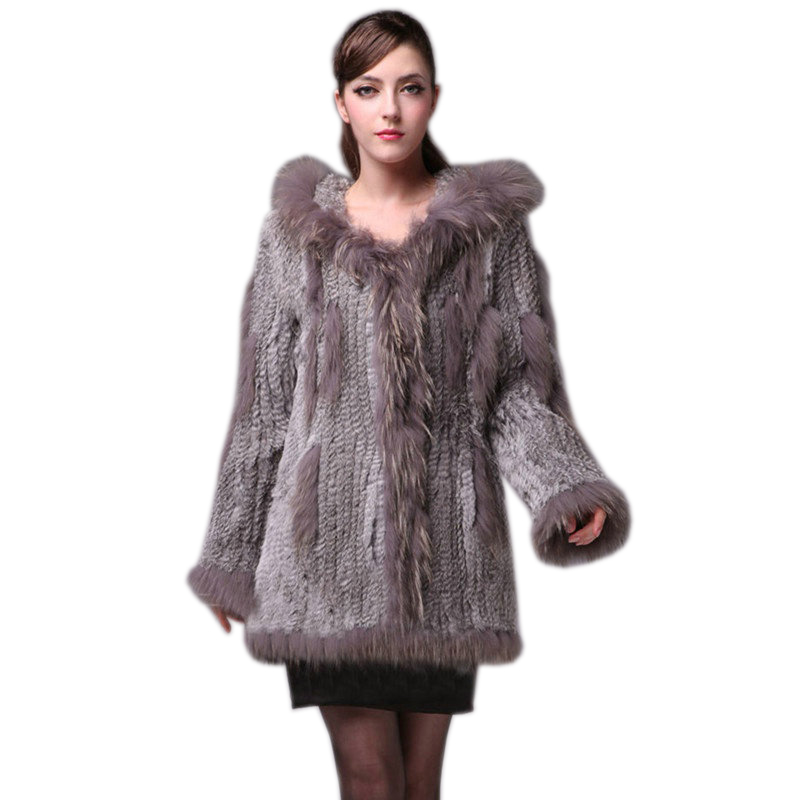 2019 Lady Knitted Real Genuine Rabbit Fur Coat/ Jacket/ Outwear/Garment With Raccoon Collar Hood Women Belt Long With Tassels