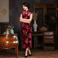New Red Printed Mandarin Collar Sexy Chinese Dress Velvet Women Slim Long Qipao Novelty Flower Elegant Cheongsam Plus Size 4XL