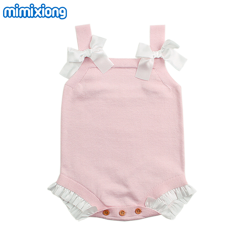 Body Suit For Newborn Baby Girl Strap Sunsuits Summer Knitted Pattern Toddler Bebe Onesie Blue Sleeveless Children Clothes 0-18M