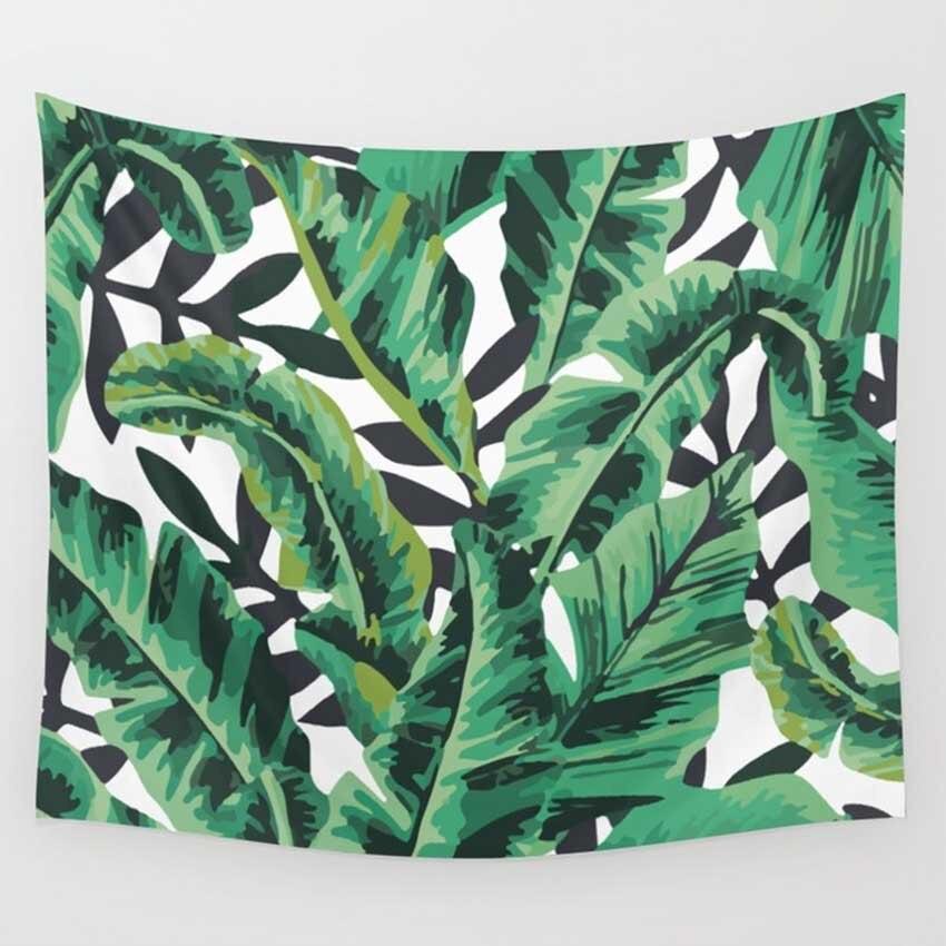 Tenture murale tapisserie bohème feuille de palmier Cactus couverture Boho Hippie serviette de plage mur décoratif tapis Mandala pour salon