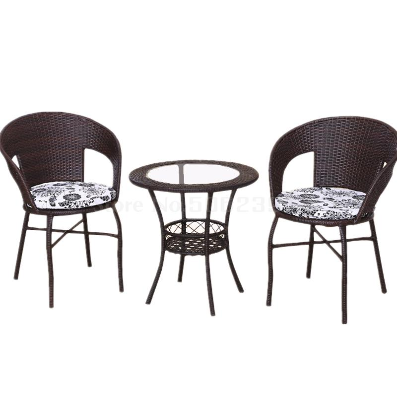 Balcony table and chair three-piece combination Small coffee table cane chair Simple net red casual outdoor outdoor garden chair