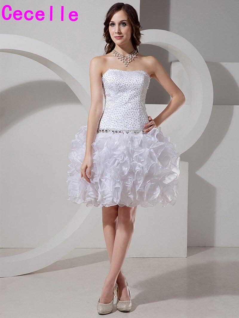 Белая юбка Orgaza с оборками Короткие коктейльные платья полностью вышитое бисером лиф для возлюбленной длиной до колена праздничное платье д