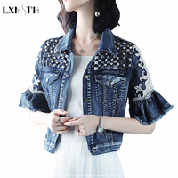 2019 Summer New Fashion Short Denim Jacket Women Lace Patchwork Slim Beading Hollow Out Jacket Half Flare Sleeve Jean Crop Top