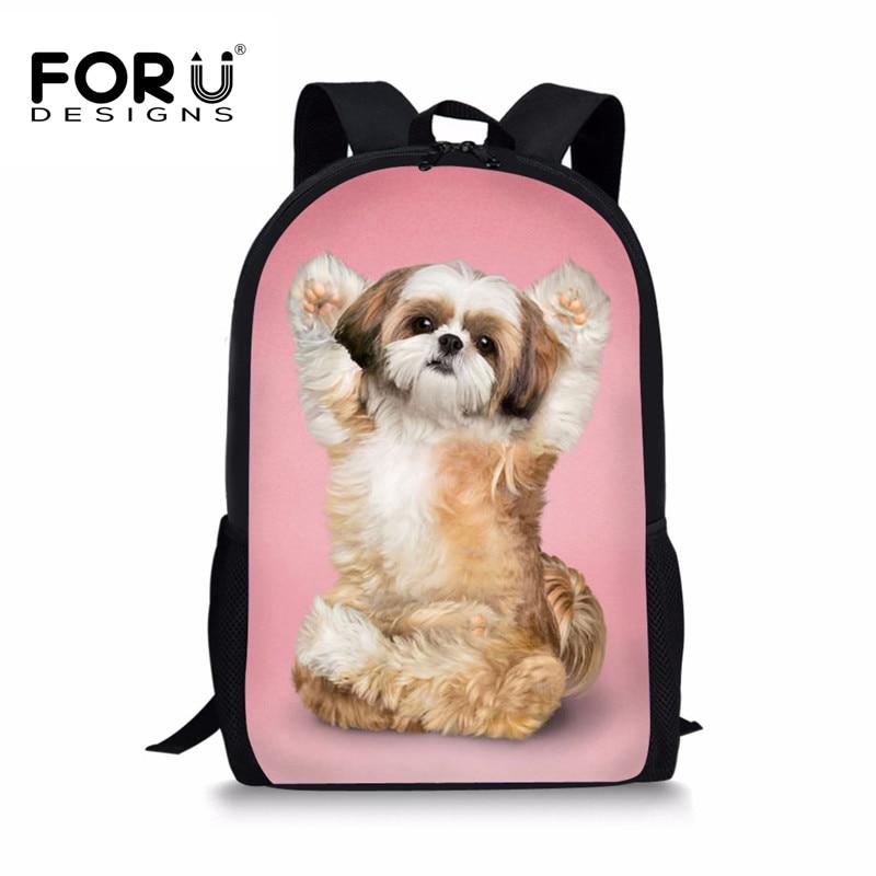 FORUDESIGNS Cute Cat Dog Printing Backpack for Teenagers Girls Boys,Animal 3D Kids School Backpacks,Children Bagpack Book Bags цена 2016
