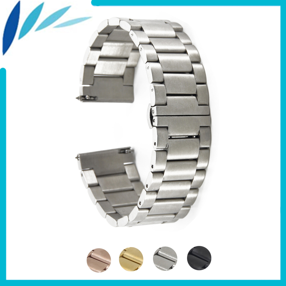 Stainless Steel Watch Band 16mm 20mm 22mm for Seiko Butterfly Buckle Strap Quick Release Wrist Belt Bracelet Black Gold Silver 22mm silver golden color butterfly buckle wrist quartz watch stainless steel band strap bracelet 2 spring bars gd013222