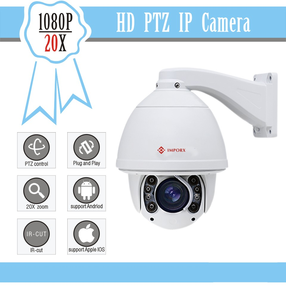 Auto Tracking PTZ IP Camera with wiper Full HD 1080P 20X Optical Zoom IR 150M High Speed Dome Onvif blue Iris