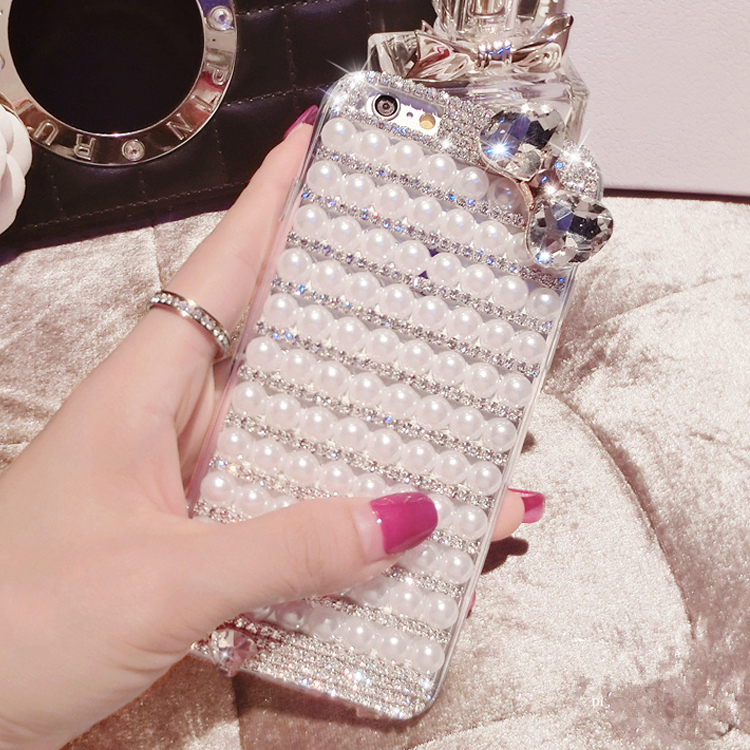 6 Crystal Pearl Photo Picture Frame Diamond Bowknot: Lady Crystal Diamond Bowknot Pearl Phone Cover Case For