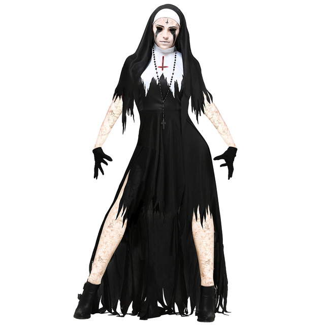 Delightful Adult Zombie Nun Costumes Scary Bloody Sister Mary Womenu0027s Living Dead Costume  Outfit Gothic Horror Halloween Fancy Dress