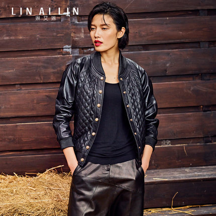 2017 Women's Leather Jacket Motorcycle Jacket Sheep Skin Short Paragraph Coat Loose Baseball Uniform