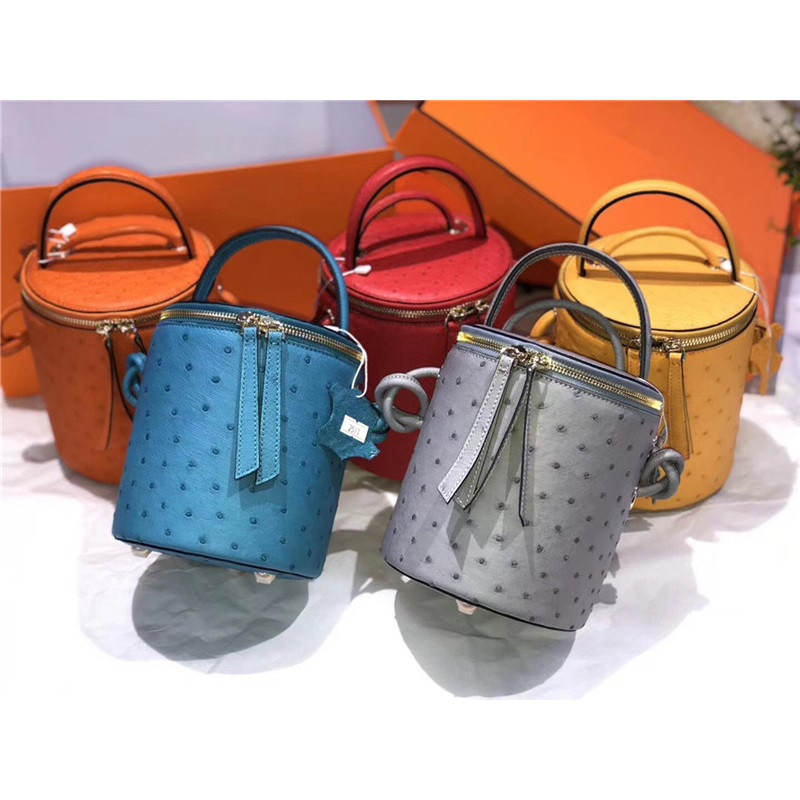 Real Ostrich Skin Women's Mini Handbag Female Circular Bucket Purse Genuine Exotic Leather Lady Single Crossbody Shoulder Bag