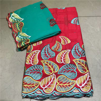 High class embroidery African cotton fabric matching with 2y Swiss voile scarf cloth for dress VRCV8(5y+2y)