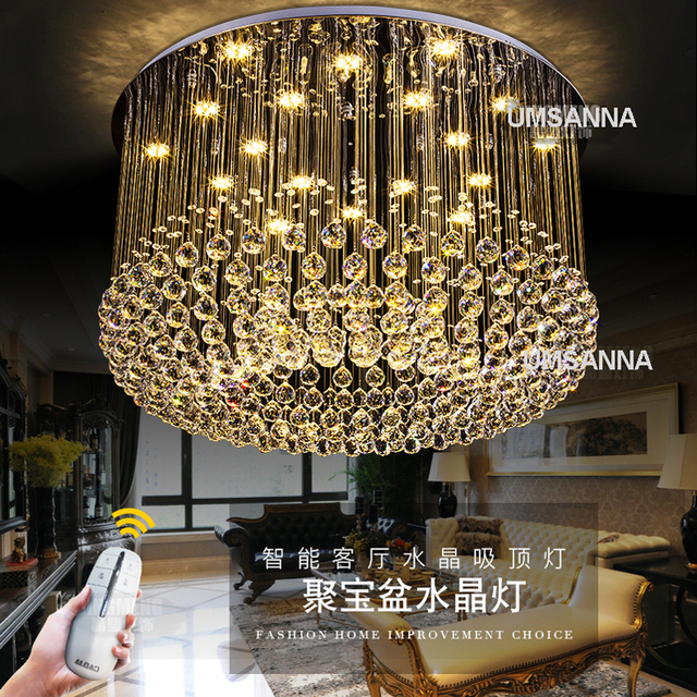 Modern Chandeliers Crystal LED Dimmable Chandelier Light Fixture 3 Colors Dimming Hanging Lamps Club Hotel